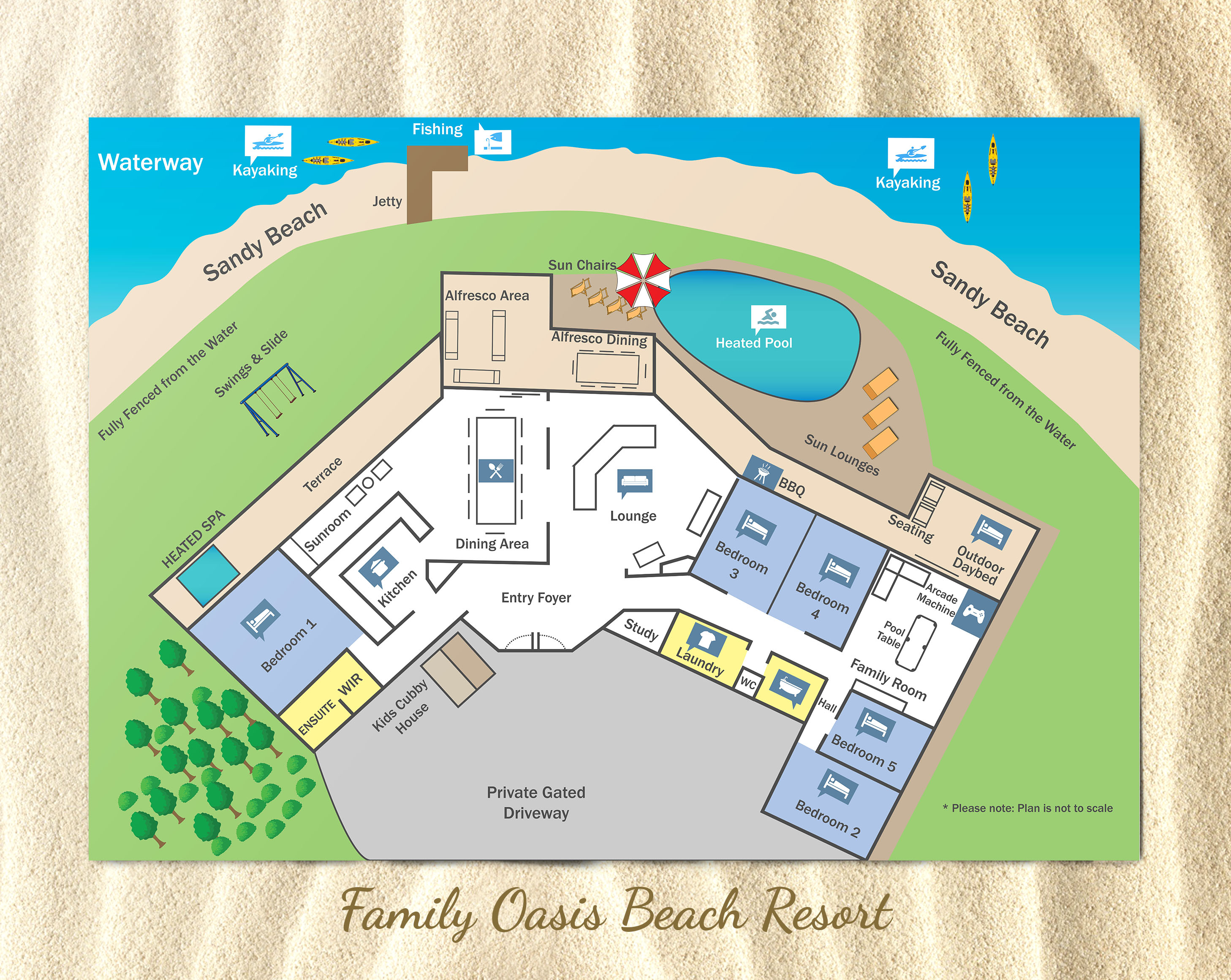 Farm House Floor Plans Beach Resort Floor Plan Family Oasis Holiday Homes